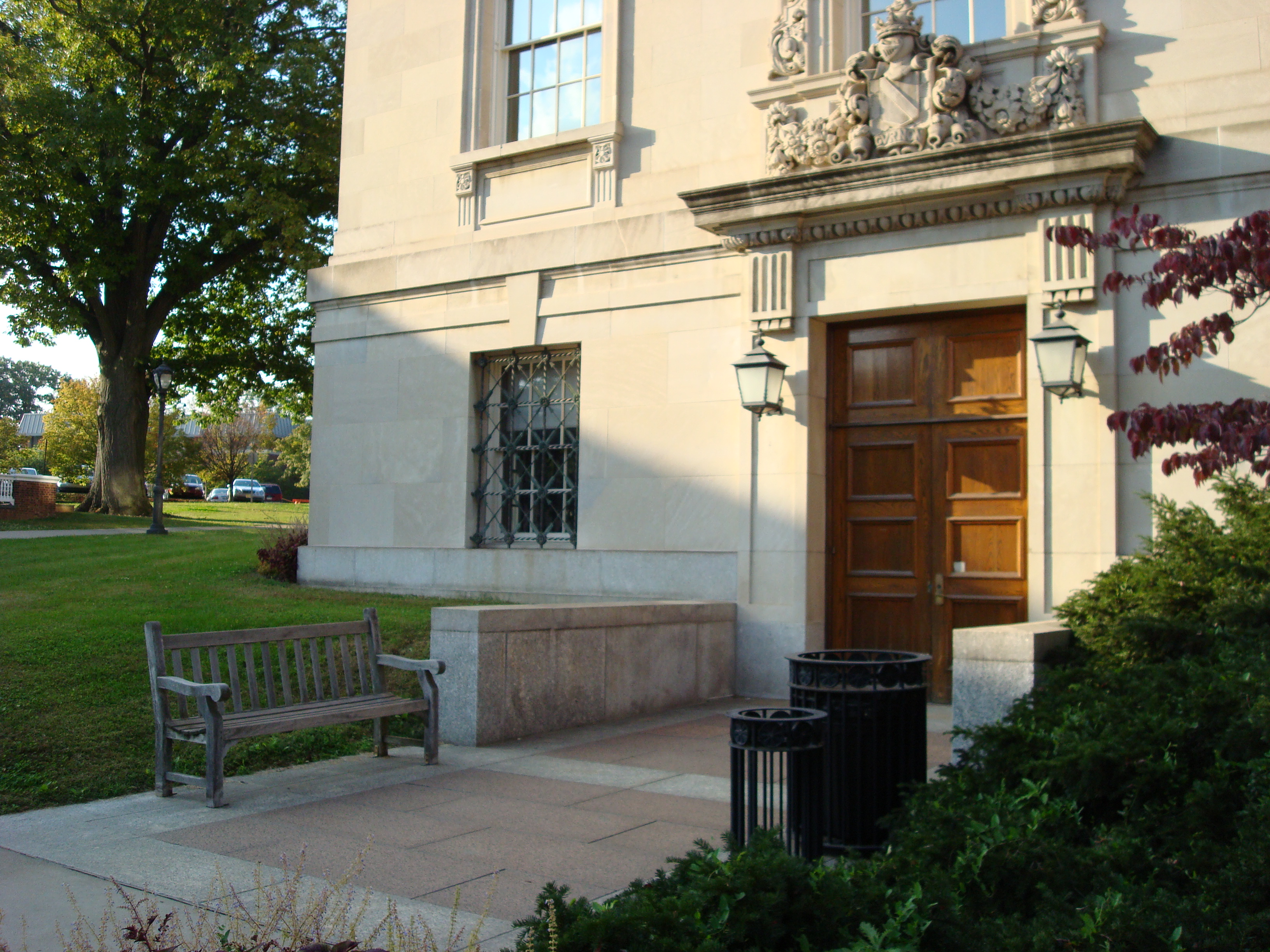 The side entrance to the Kirby Hall of Civil Rights, leading directly to the Meyner Center.